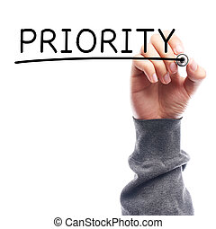 Priority - Hand with marker writing Priority on transparent...
