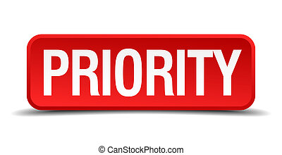 Priority red 3d square button isolated on white