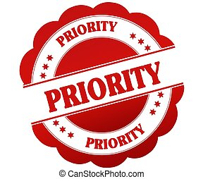 PRIORITY red round rubber stamp