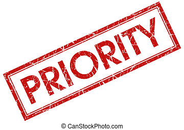 priority red square stamp