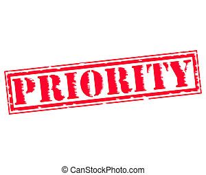 PRIORITY RED Stamp Text on white backgroud