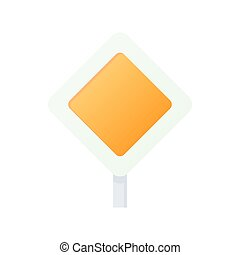 Priority road sign sign icon, cartoon style