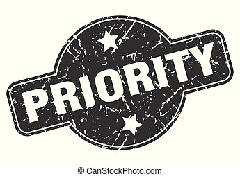 priority round grunge isolated stamp