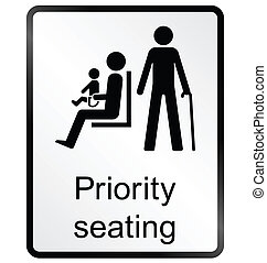 Priority seating Information Sign - Monochrome priority...