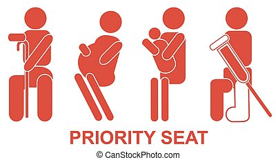 Priority seats - Priority, seats, sign, red