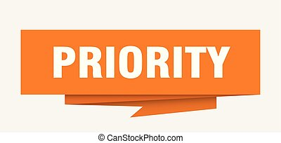 priority sign. priority paper origami speech bubble. ...