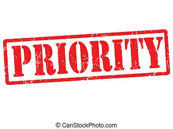 Priority grunge rubber stamp on white, vector illustration