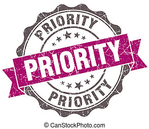 Priority violet grunge retro style isolated seal