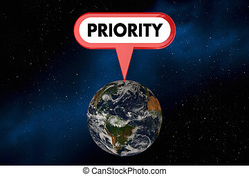 Priority World Planet Earth Sign Environment 3d Illustration