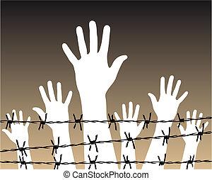 prisão, arame farpado, atrás de, mãos