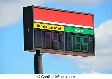 pris, bensin, underteckna