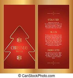 pris parti, décoratif, menu, -, conception, double, noël