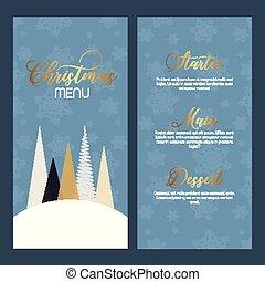 pris parti, menu, noël, conception, décoratif, -, double