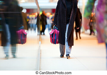 prisa, centro comercial, gente