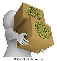 prisa, estampilla, prioridad, urgente, cajas, servicios, exposiciones