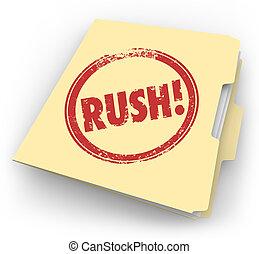 prisa, palabra, estampado, manila, tiempo sensible, carpeta, documentos, paperwo