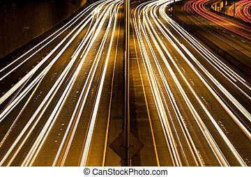 prisa, tráfico, hora