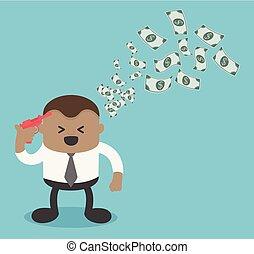 prise, argent, prêt, financier, homme affaires, confection, heureux, dollar, pousse, concept., fusil, idées