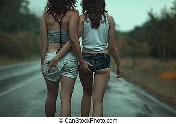 prise, ass., lesbienne, femmes