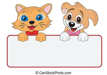 prise, bannière, chien, propre, chat