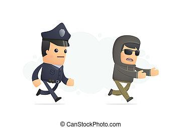 prise, criminel, essayer, police
