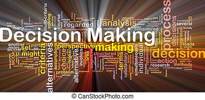 prise décision, fond, concept, incandescent