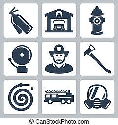 prise eau, pompier, extincteur, icônes, brûler, essence, reveil, masque, maison, vecteur, hache, camion, station, tuyau, set: