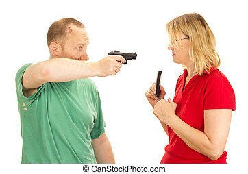prise, femme, gunpoint, homme
