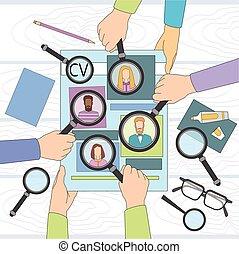 prise, gens, recrutement, business, magnifier, candidat travail, programme scolaire, groupe, vitae, verre