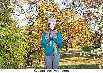prise, girl, autumn-day, ensoleillé, pomme, beau