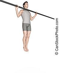 prise, large, traction, séance entraînement, -, augmente