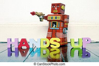 !, prise, lettres, bois, fusil, haut, main, vous, robot, rouges