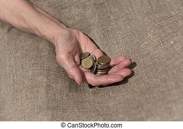 prise, main, poignée, pièces., petit, sénile