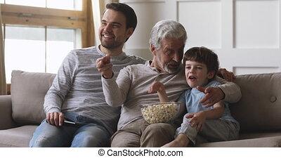 prise, montre, hommes, éloigné, heureux, contrôle, tv, trois...