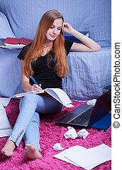 prise notes, girl, examen