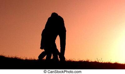prise, père, coucher soleil, enfants
