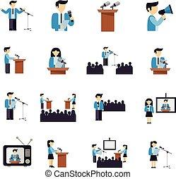 prise parole public, icônes, plat