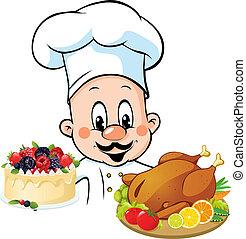 prise, repas, chef cuistot