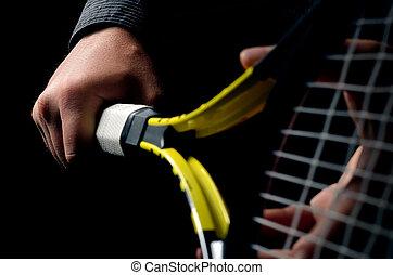 prise, tennis, isolé, main, arrière-plan., racket., noir, oscillation