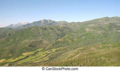prise vue aérienne, de, forêt verte, et, montagnes, et, pré