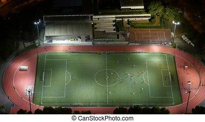 prise vue aérienne, de, moderne, champ football, à, jouer,...