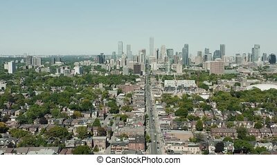 prise vue aérienne, toronto, neighborhood., establishing, 4k