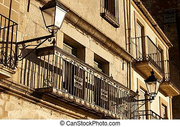 prise vue angle, bas, balcon