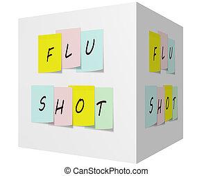 prise vue grippe, sur, coloré, notes collantes, sur, a, 3d, cube