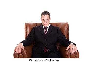 prise vue., isolé, assis, arrière-plan., studio, chaise, homme affaires, blanc