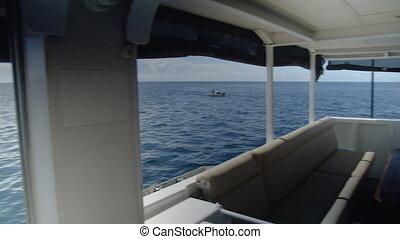 prise vue large, bateau, océan