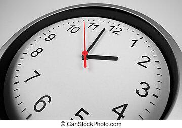 prise vue large, classique, macro, horloge, lentille, angle
