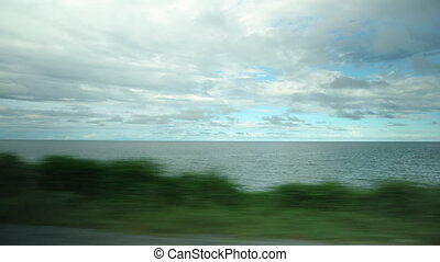 prise vue large, horizon, ocean's