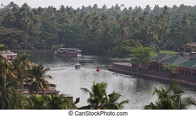 prise vue large, résidentiel, ferry-boat, secteur