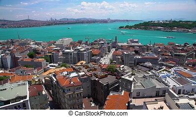 prise vue large, ville, bâtiments, statique, riverbank